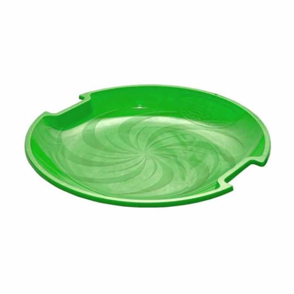 green plastic saucer sled