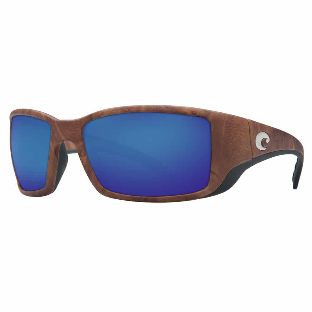 brown sunglasses with blue lenses