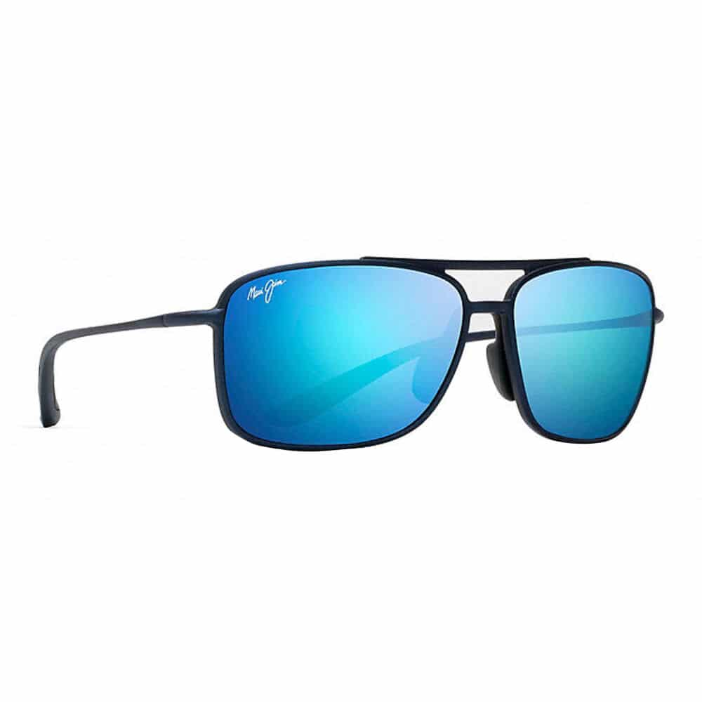black sunglasses with blue rims