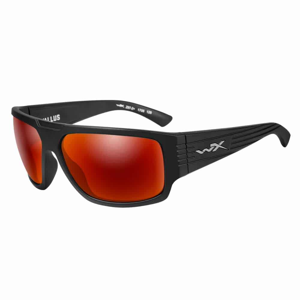 black sunglasses with red frames
