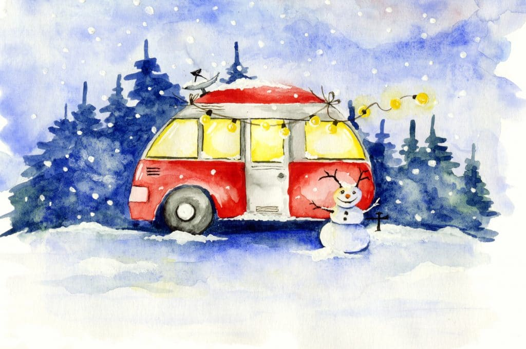 Funny red house on wheels in the Christmas forest
