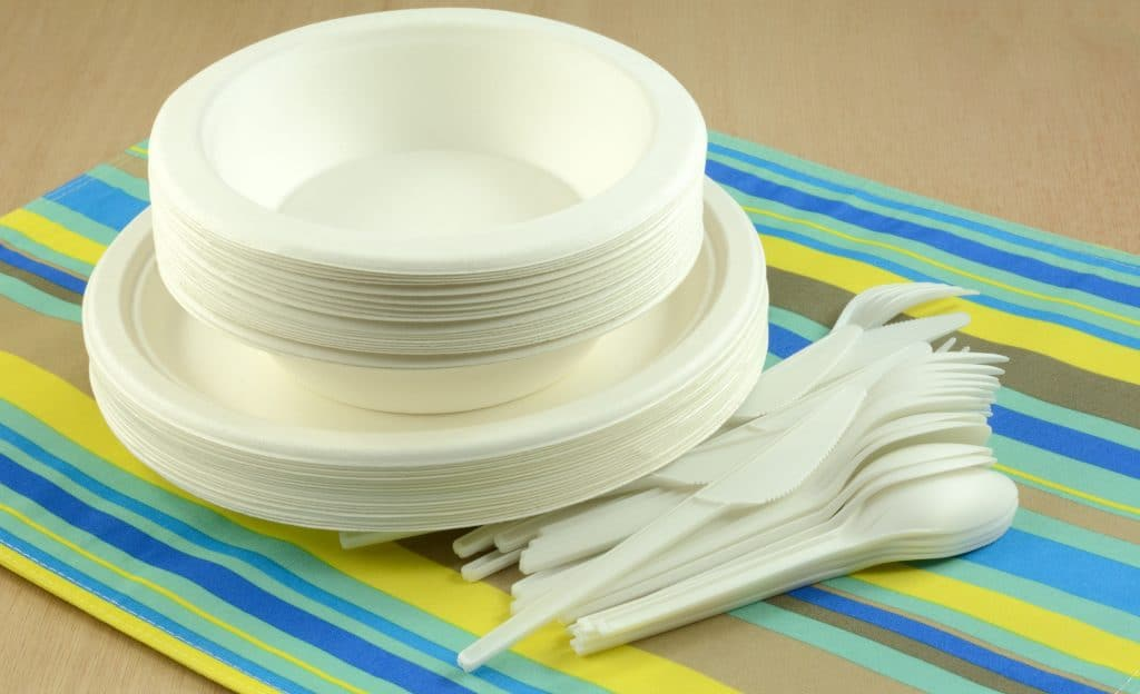 White eco-friendly disposable compostable plates bowls and cutlery on place mat
