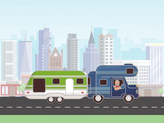 Camping trailer vector illustration. Car with caravan for camping in summer journey. Car camp trailer. RV with driver on the road in the city