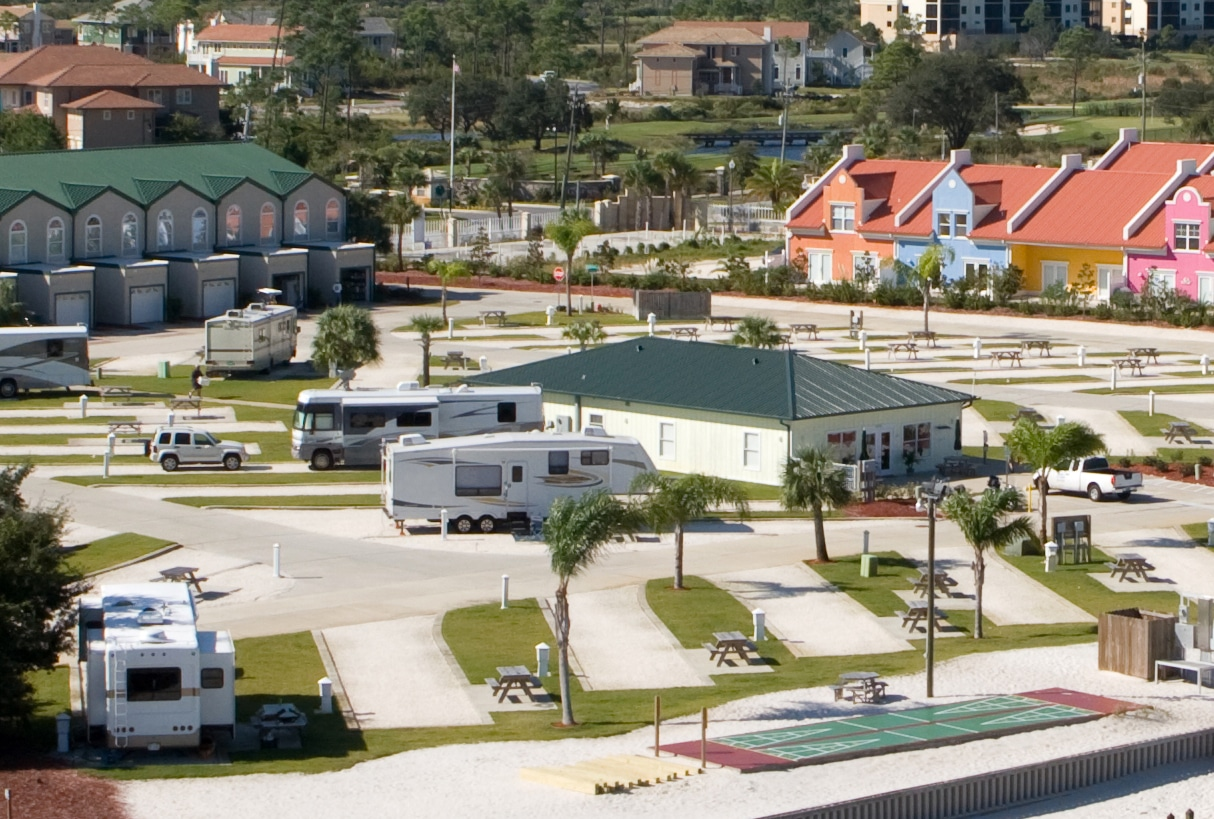 An rv park in the city