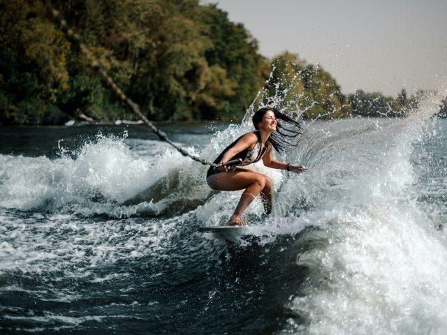 Wakeboarding woman