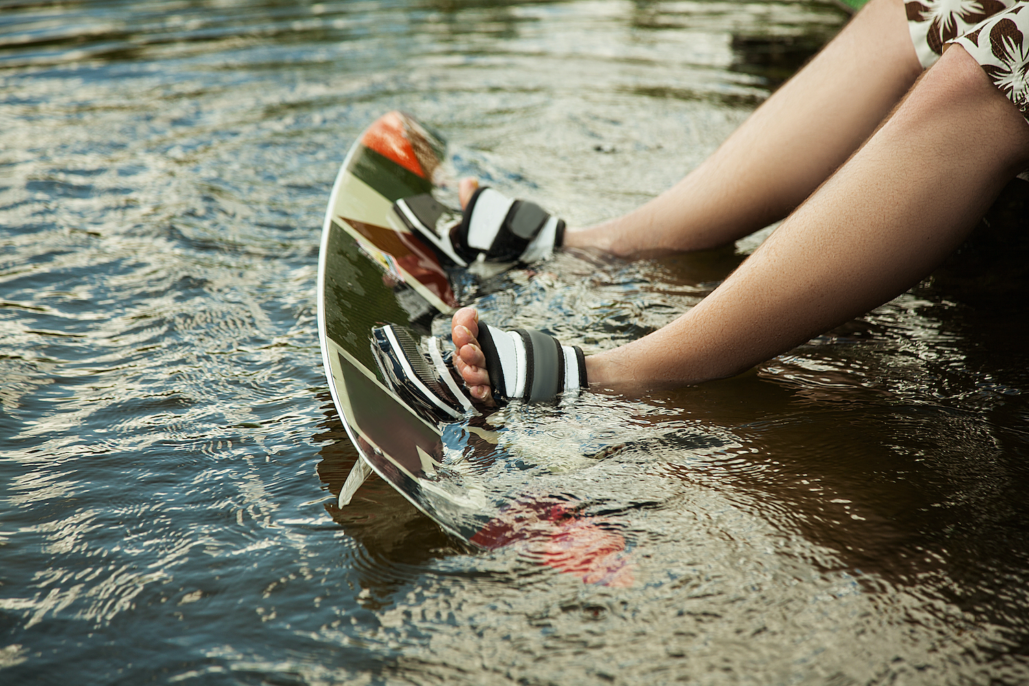 feet in wakeboard off of boat