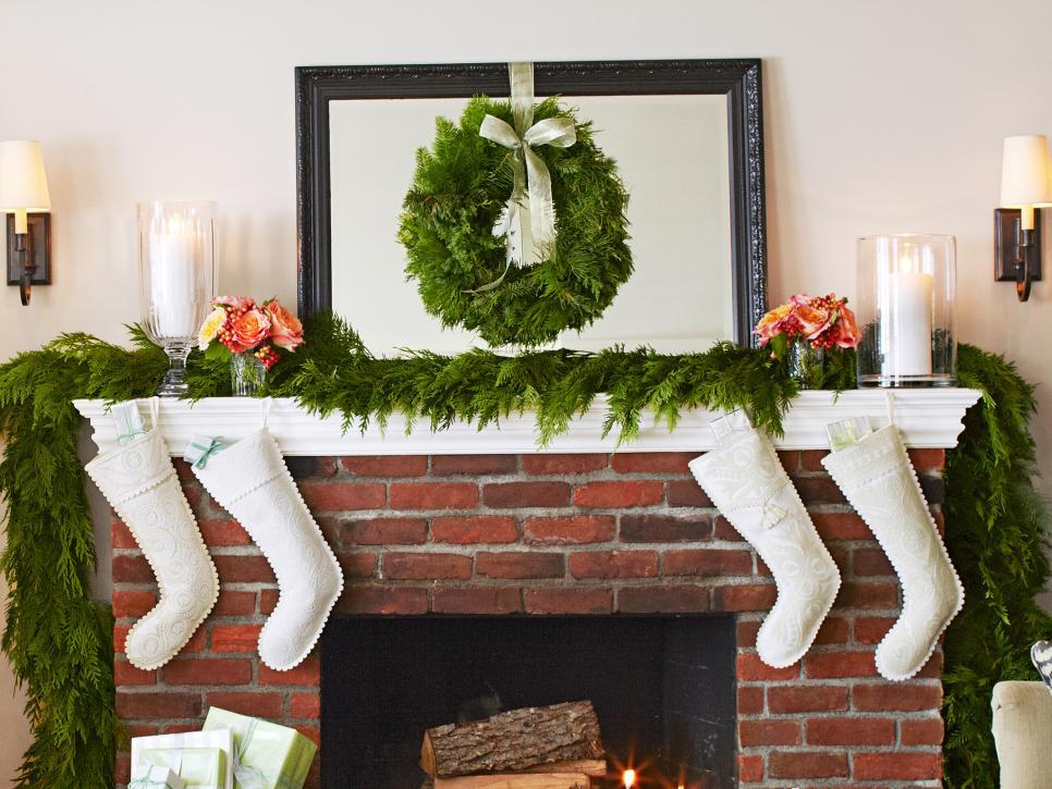 festive holiday mantle