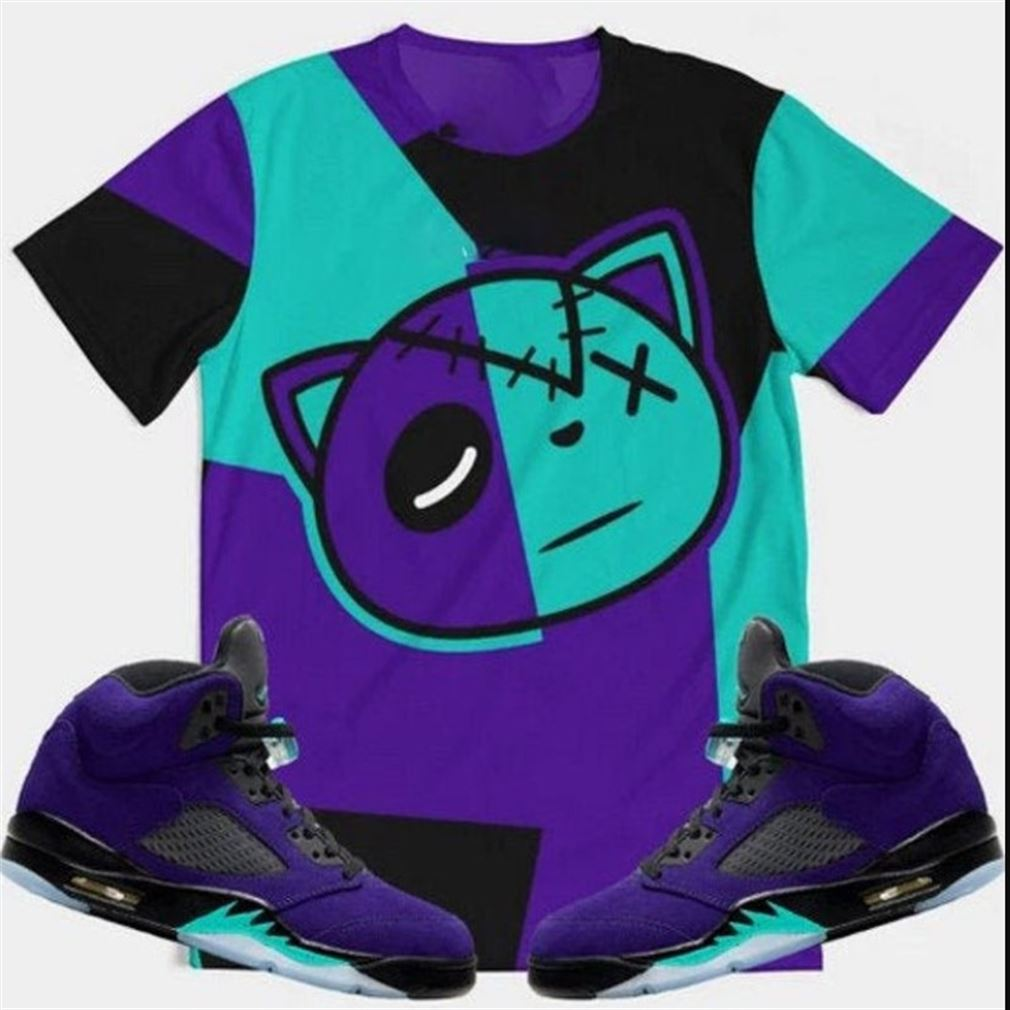 Amazing T-shirt Air Jordan 5 Color Block Alternate Grape Retro 5s T-shirt Nike Sb Dunk Low Pro Ben N Jerry Shoes Retro 5 Color Block Black Tee So Incredible