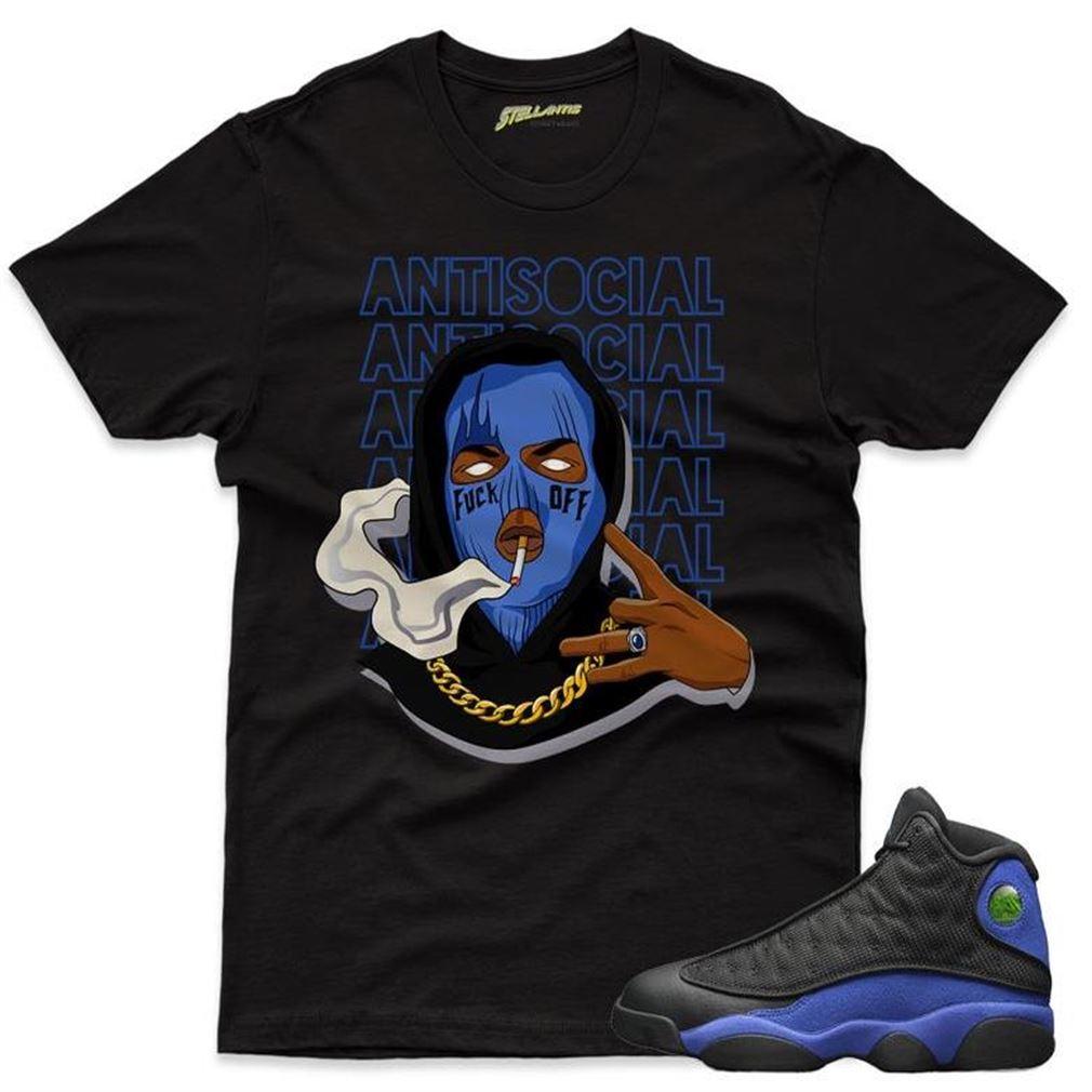 Awesome T-shirt Antisocial Boy Shirt To Match Jordan 13 Retro Black Hyper Royal Sneaker Unisex New 2021