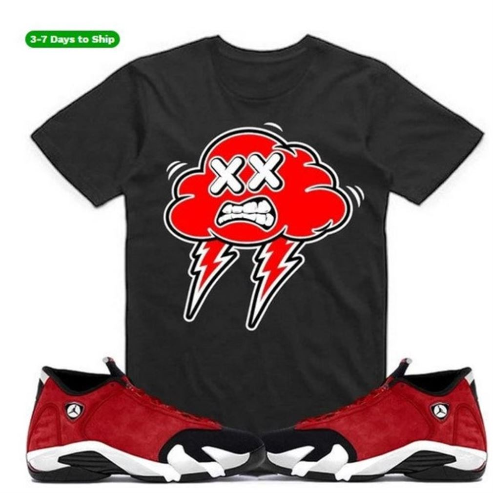 Great Bred Strange Clouds -jordan Retro 14 Gym Red Sneaker Shirt S To Match- Jordan 14 Hyper Royal - Black And White Sport Sneaker Matching So Epic