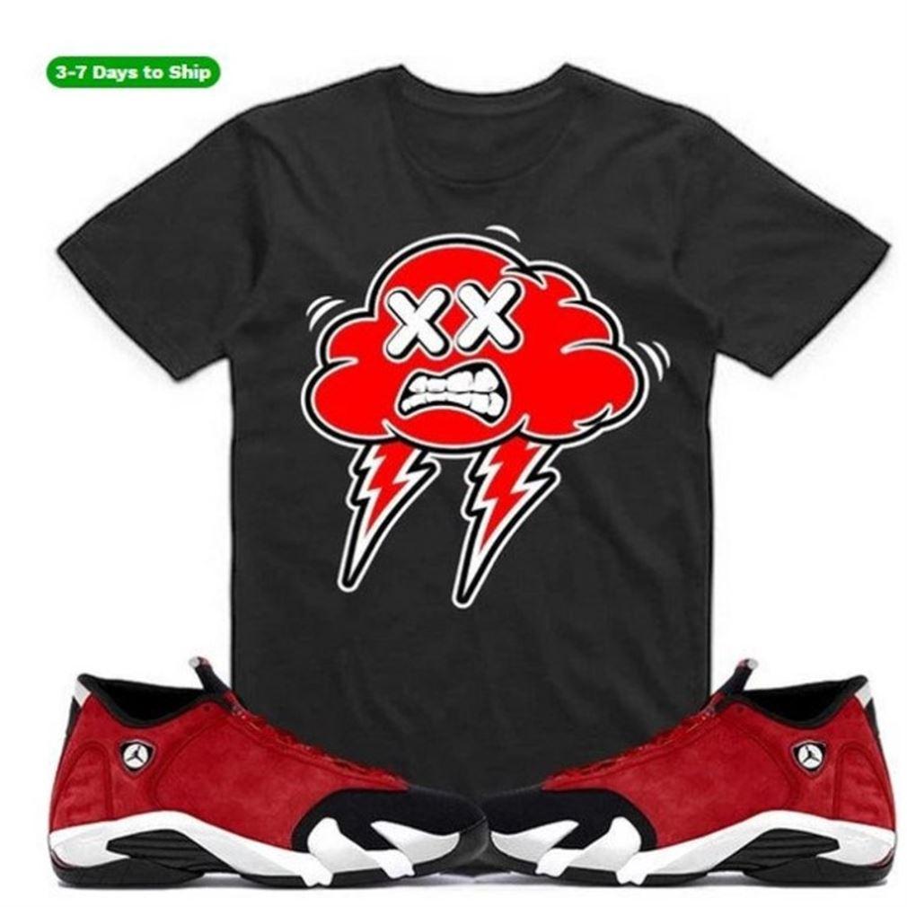 Great Bred Strange Clouds -jordan Retro 14 Gym Red Sneaker Shirt S To Match- Jordan 14 Hyper Royal - Black And White Sport Sneaker Matching Brilliant T-shirt
