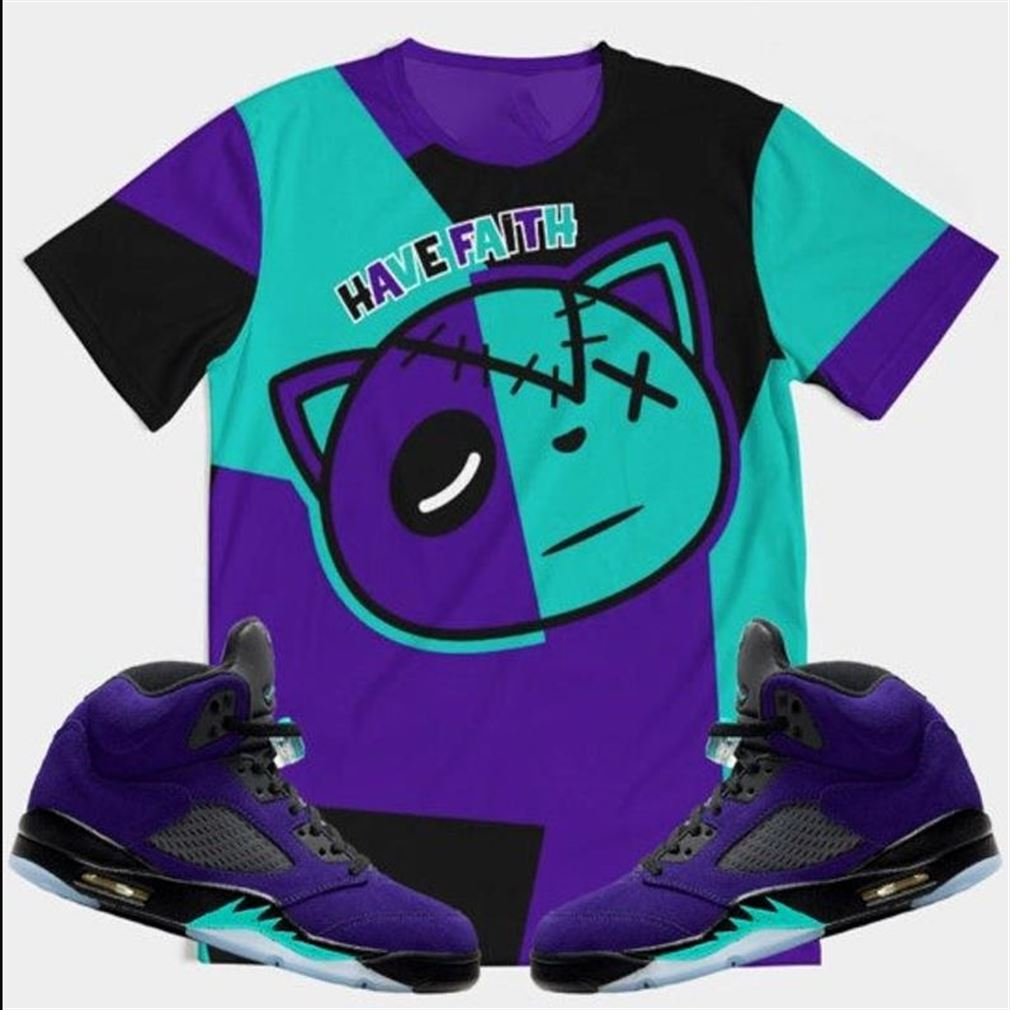 Awesome T-shirt Color Block Hf Alternate Grape Retro 5_39_s T-shirt T-shirt Made To Match Air Jordan 5 Retro Alternate Grape Adult For Men And Women