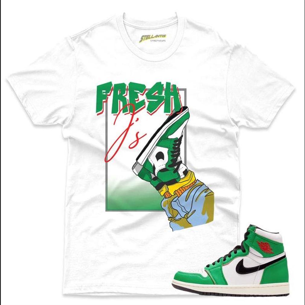 Terrific Tees Fresh J Shirt Match Jordan 1 Retro High _quot_lucky Green_quot_ Sneaker Unisex Marvelous