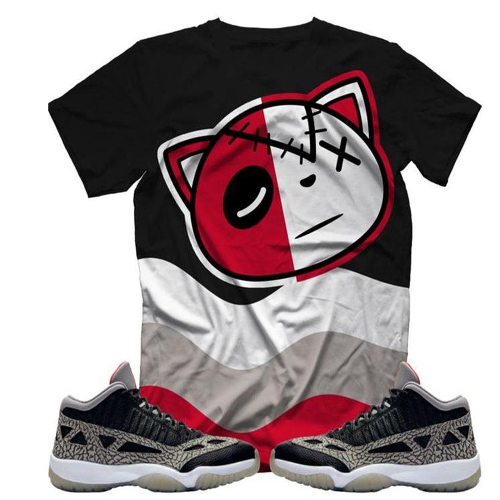 Terrific T-shirt Hf Cat Camo Black Cement 11 T-shirt Air Jordan 11 Retro Low Ie Black Cement Sneaker Tee All Over Print Tee Hot 2021