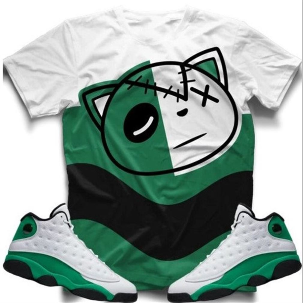 Fantastic Hf Wave Lucky Green Retro 13 T-shirt T-shirt And Face Mask To Match The Air Jordan Retro 13 Lucky Green Sneaker So Epic