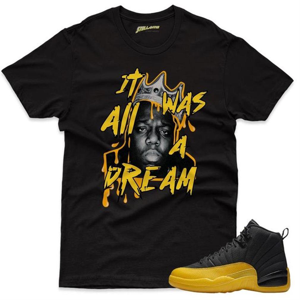 Terrific T-shirt It Was All A Dream - Air Jordan 12 Retro Black _quot_university Gold_quot_ Sneaker Streetwear Unisex Brilliant T-shirt