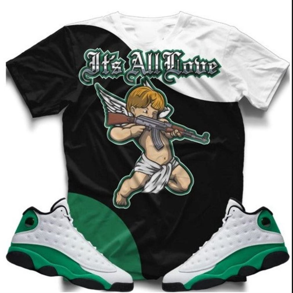 Amazing Tee Its All Love Lucky Green Retro 13s T-shirt T-shirt And Face Mask To Match The Air Jordan Retro 13 Lucky Green Sneaker So Fabulous