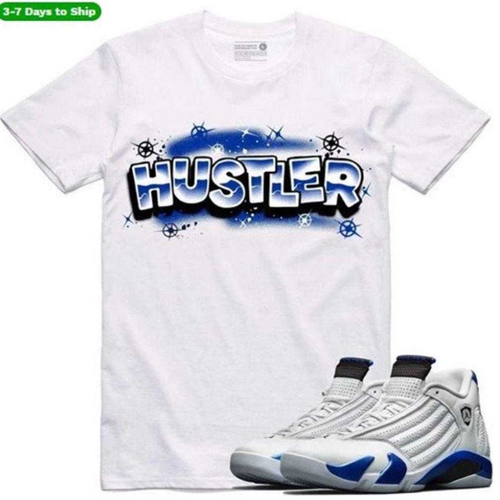 Jordan Retro 14 Sport Royal Sneaker Shirt S To Match - Hustler Rk - Funny Mike Shirts - Black And White Sport Sneaker Matching