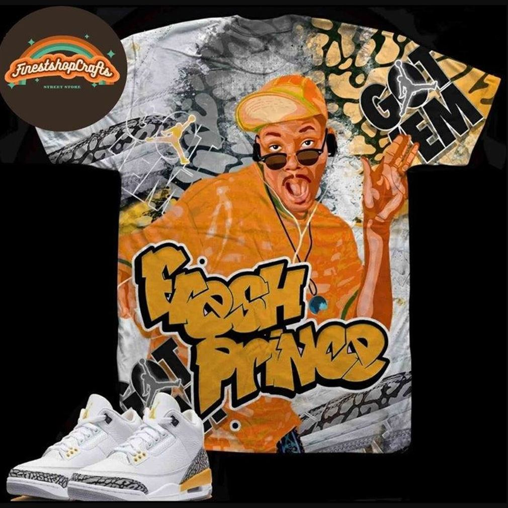 Awesome Laser Prince To Match Jordan 3 Laser Orange Sublimated Bel Air Tee 3d T For Men And Women