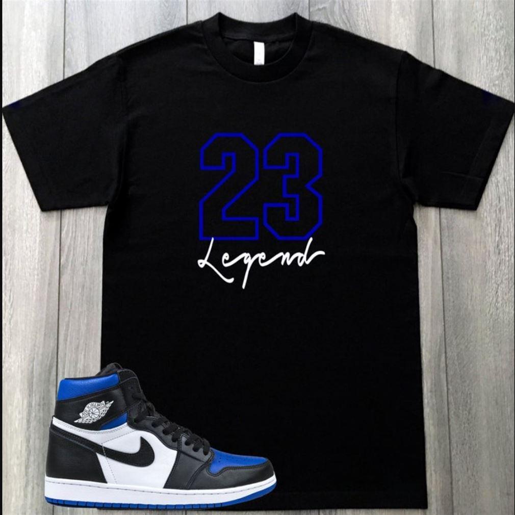Legend Black Royal Blue T-shirt To Match Air Jordan 1 Royal Toe Tees T-shirt To Match Your