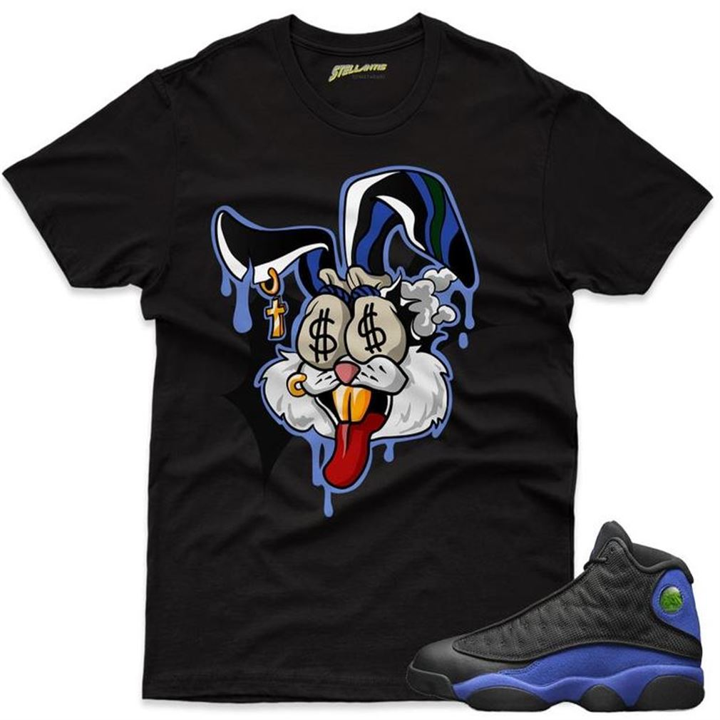 Money Motive Bunny Shirt Match Jordan 13 Retro Black Hyper Royal Sneaker Unisex