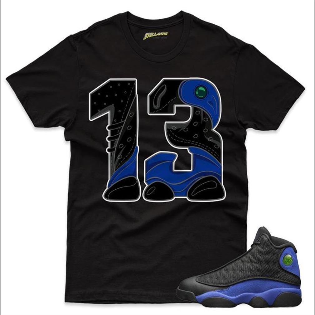 Number 13 Shirt Match Jordan 13 Retro Black Hyper Royal Sneaker Unisex