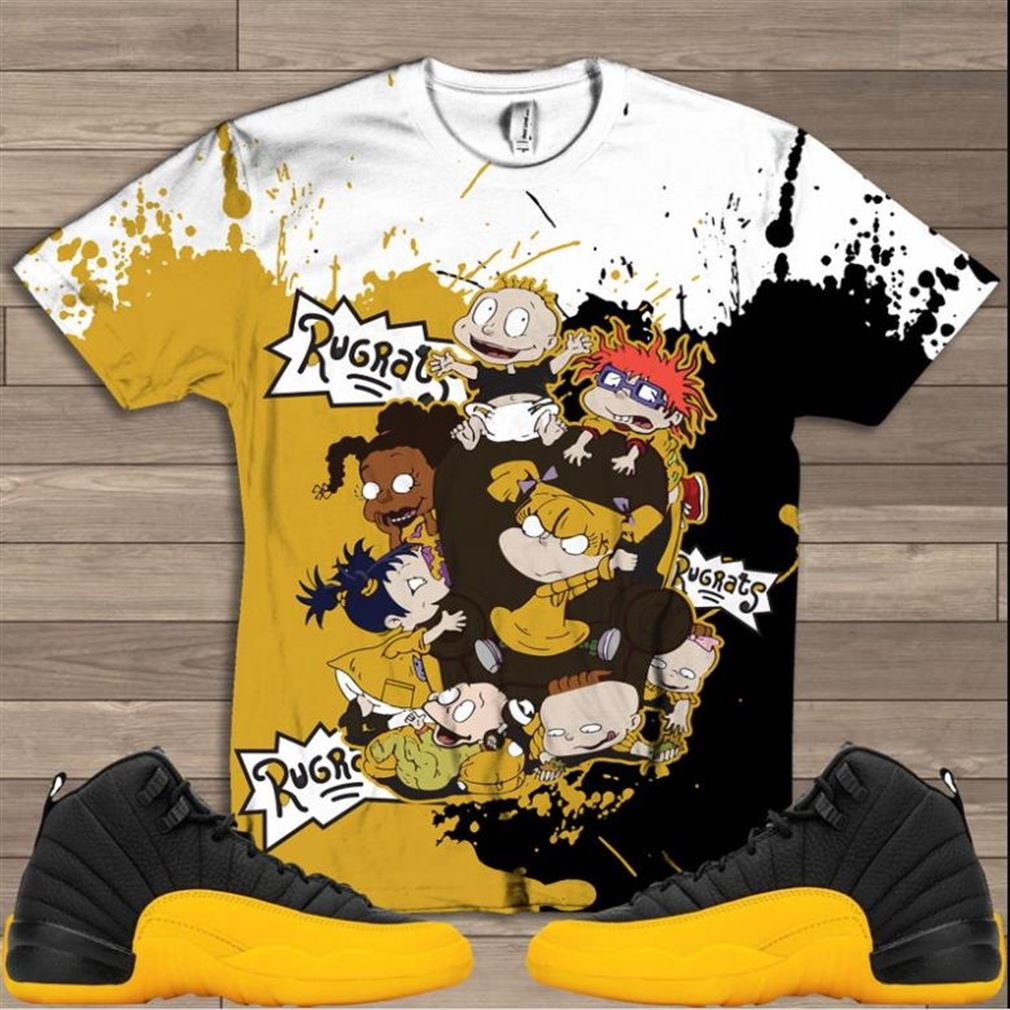 Terrific Tees Rugrats Uni Gold T-shirt Jordan Retro 12 University Gold Yellow Sneaker T Shirt All Over Print Shirt Hot 2021