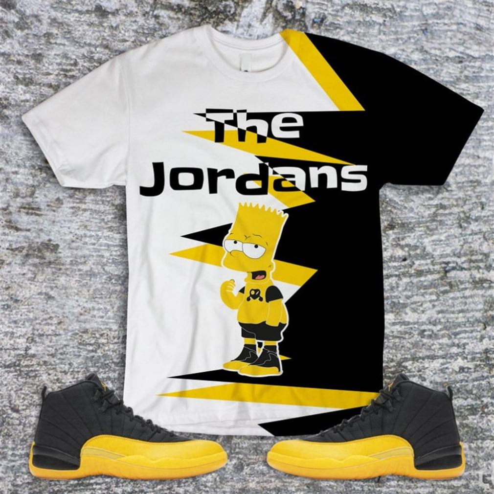 Awesome Tees The Simpson T-shirt Jordan 12 Black University Gold Air Jordan 12 University Gold Shirt T-shirt To Match Marvelous