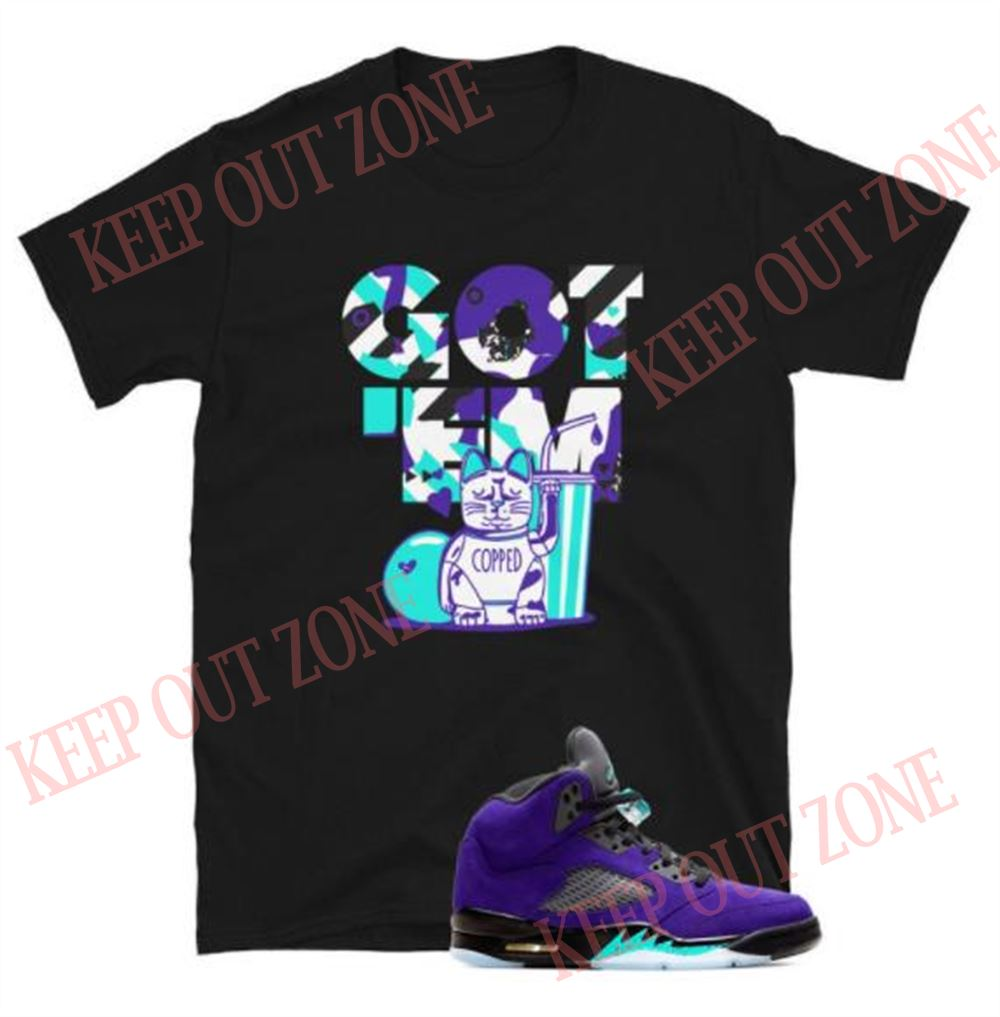 Terrific T-shirt Copped Got _em Tee Jordan 5 Retro Purple Grape Unisex T-shirt 100% Cotton