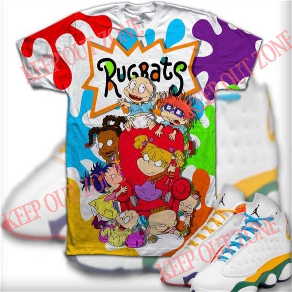 Amazing Tee Custom Rugrats Shirt Jordan 13 White-black-court Purple- Ksa Marvelous