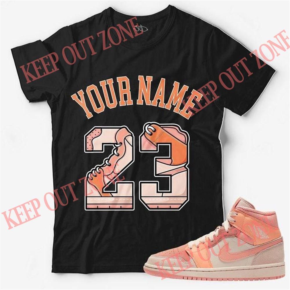 The Bee's Knee T-shrirt Custom Text _ Number 23 Unisex T-shirt Match Jordan 1 Mid Apricot Orange Hot 2021