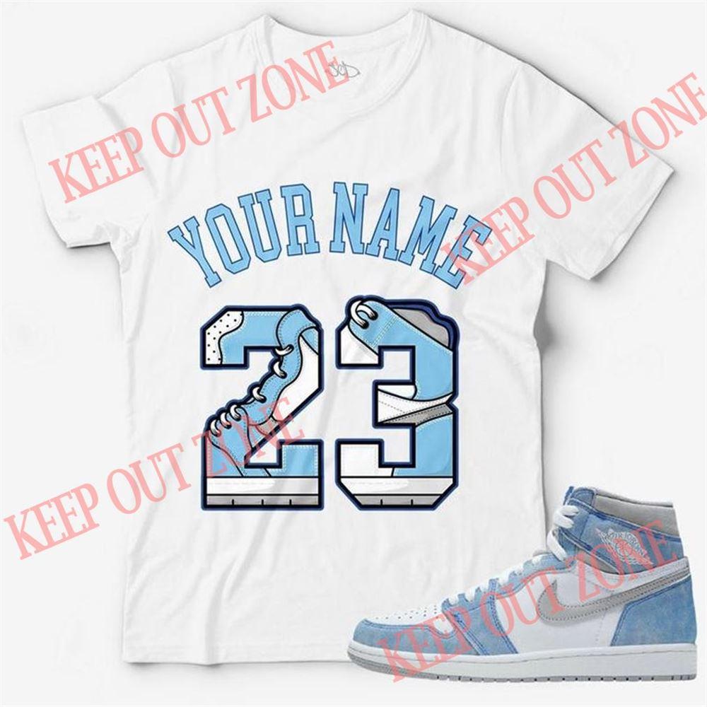 Awesome T-shirt Custom Text _ Number 23 Unisex T-shirt Match Jordan 1 Retro High Og Hyper Royal 100% Cotton
