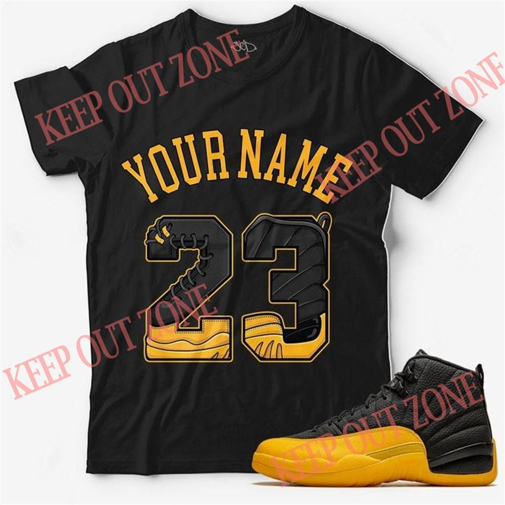 Great Tee Custom Text _ Number 23 Unisex T-shirt Match Jordan 12 Retro Black University Gold So Incredible