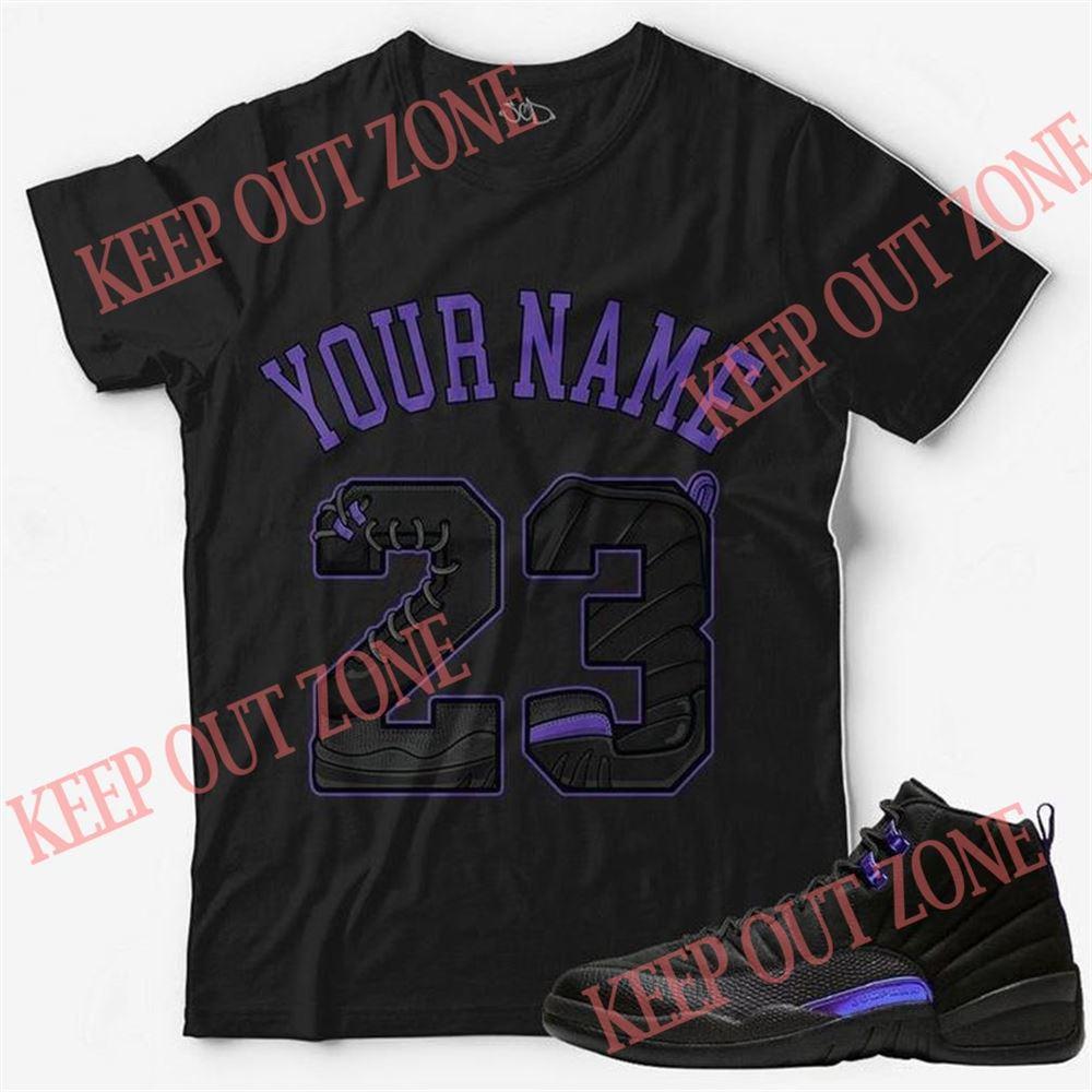 Great Custom Text _ Number 23 Unisex T-shirt Match Jordan 12 Retro Concord So Wonderful