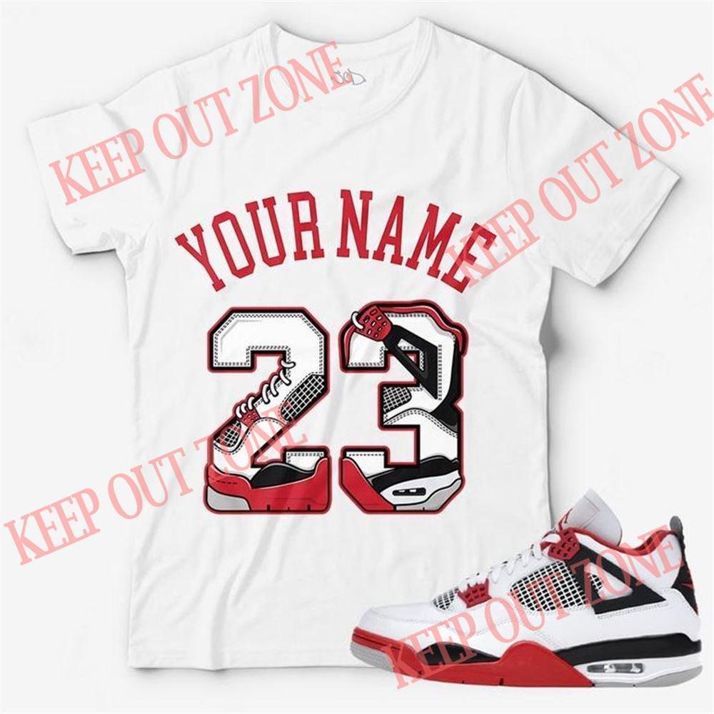 Amazing T-shirt Custom Text _ Number 23 Unisex T-shirt Match Jordan 4 Retro Fire Red Brilliant T-shirt