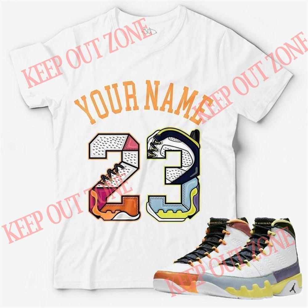 Awesome Custom Text _ Number 23 Unisex T-shirt Match Jordan 9 Change The World Hot 2021