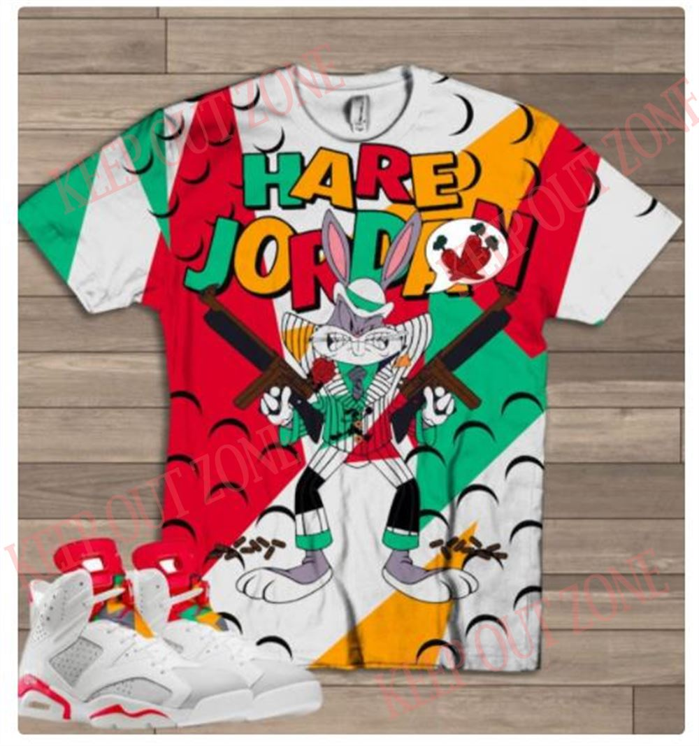 Great Tee Gangsta Bugs Bunny Shirt Jordan Hare 6 100% Cotton