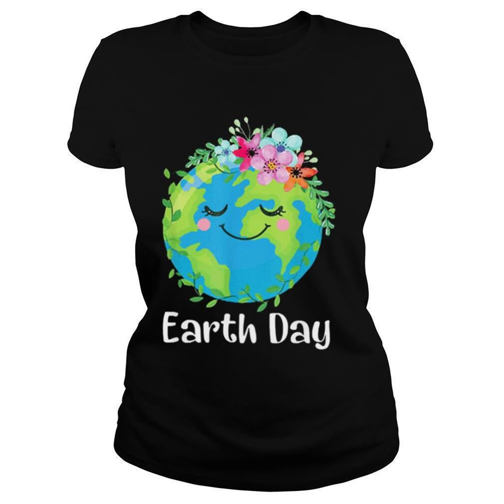 Great Tee Happy Earth Day Cute Earth With Floral Earth Day 2021 Shirt So Epic