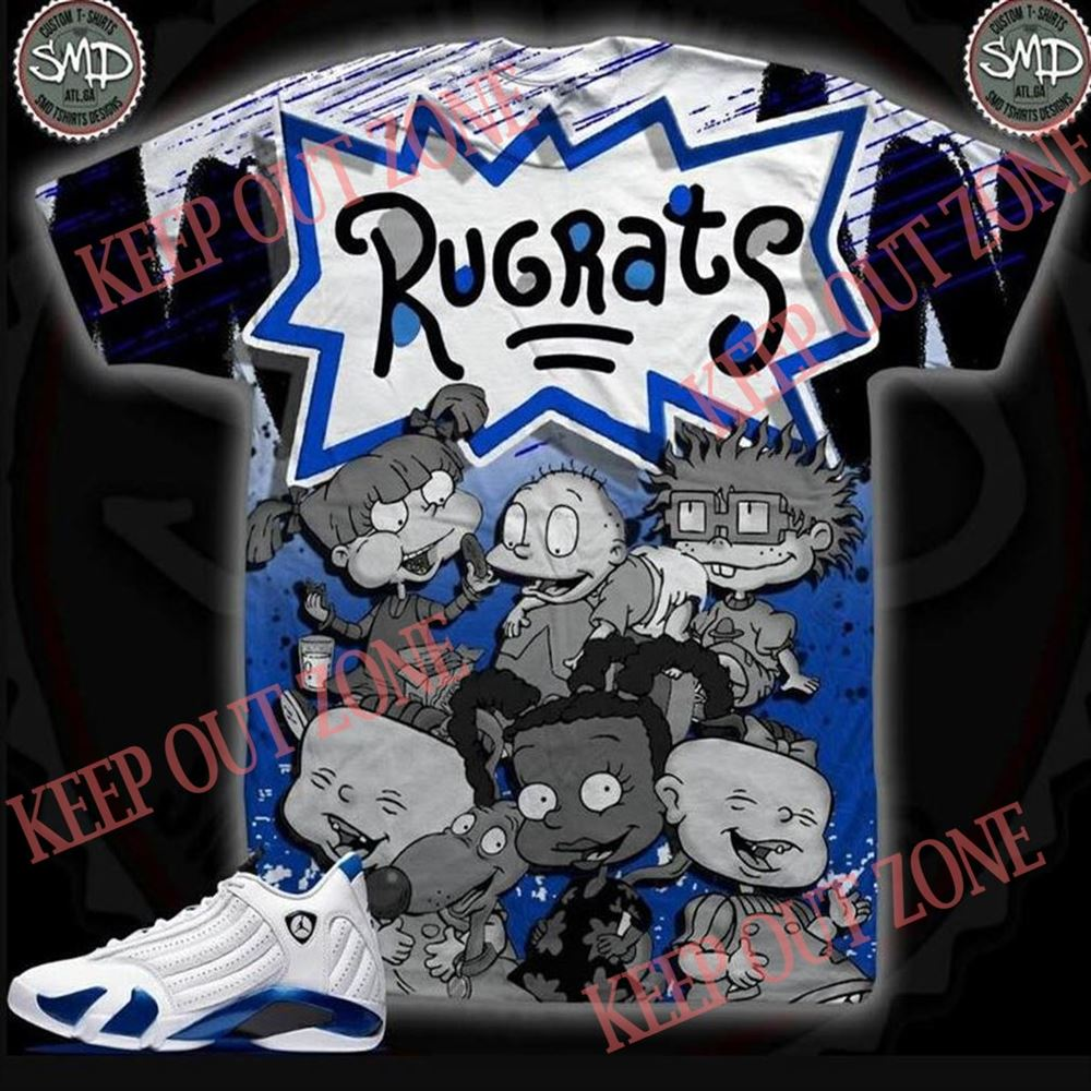 Amazing Hyper Blue _ Grey Rugrats Shirt 100% Cotton