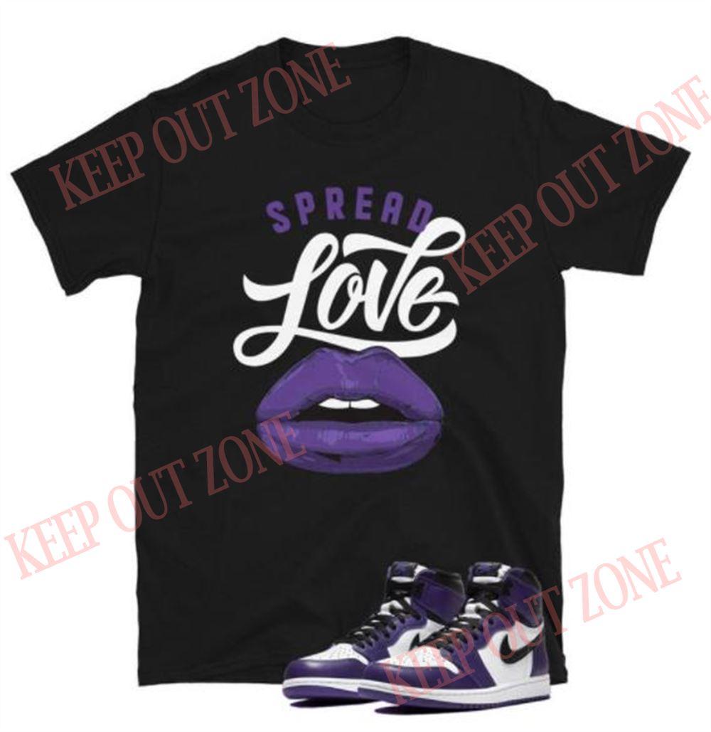 The Bee's Knee T-shrirt Jordan 1 Court Purple Tee Spread Love Short-sleeve Unisex T-shirt 100% Cotton