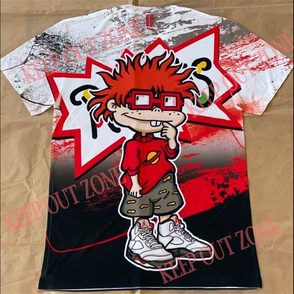 Amazing Rugrats Chuckie Shirt Jordan 5 Fire Red 100% Cotton