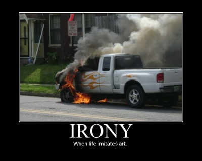 irony car on fire