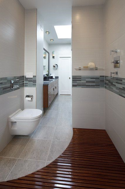 Curved tile and wood flooring look