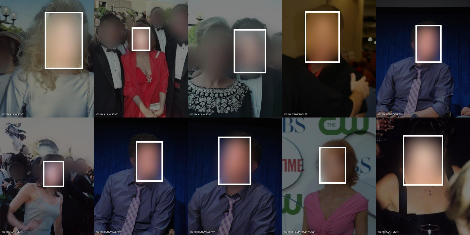 Example mages from the FaceScrub dataset. Faces are blurred to protect privacy. Visualization by Adam Harvey / Exposing.ai. All images licensed under CC-BY-NC with original images licensed and attributed under Creative Commons CC-BY (attribution required, no commercial use).