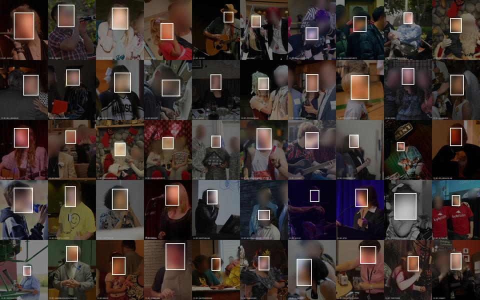 50 of 87,517 face images collected by Google from Flickr for use in the Google FEC face expression classification dataset. Faces are blurred to protect privacy. Visualization by Adam Harvey / Exposing.ai licensed under CC-BY-NC with original images licensed and attributed under Creative Commons CC-BY (attribution required, no commercial use).