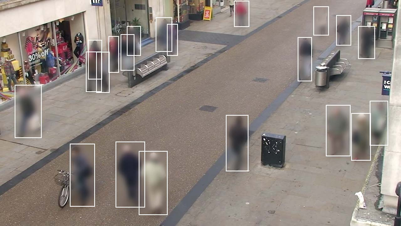 A still frame from the Oxford Town Centre CCTV video-dataset