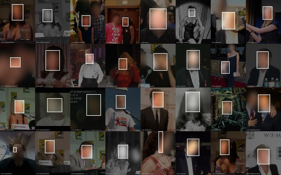 Examples of Flickr images used in the VGG Face dataset that is used for training face recognition algorithms. Faces are blurred to protect privacy. Visualization by Adam Harvey / Exposing.ai licensed under CC-BY-NC with original images licensed and attributed under Creative Commons CC-BY (attribution required, no commercial use).