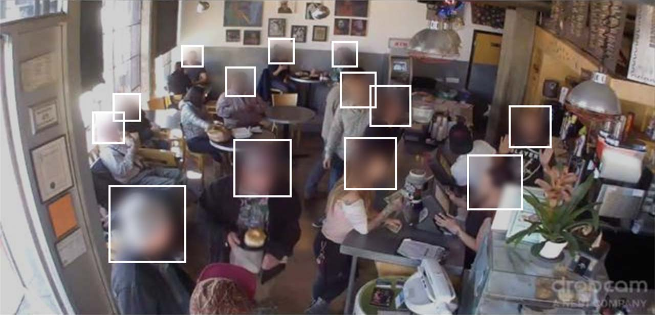 An sample image from the Brainwash dataset used for training face and head detection algorithms for surveillance. The dataset contains a total of 11,917 images and 81,973 annotated heads. Graphic by Adam Harvey (MegaPixels.cc) based on Brainwash dataset by Russel et. al.