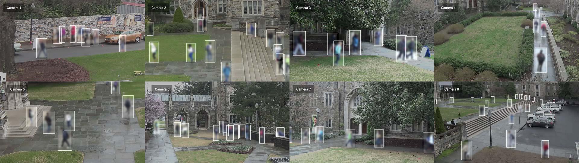 Duke MTMC camera views for 8 cameras deployed on campus © Adam Harvey / MegaPixels.cc