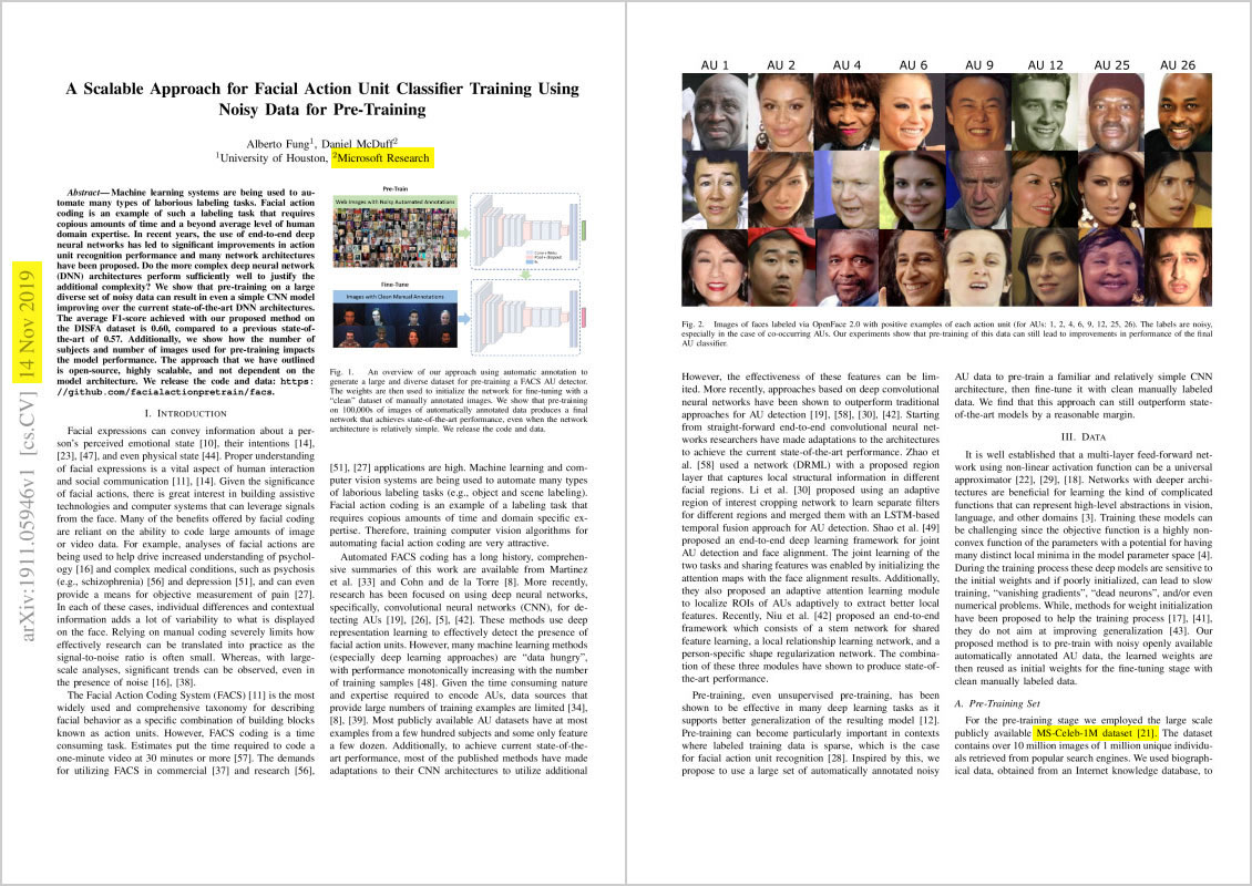"""""""A Scalable Approach for Facial Action Unit Classifier Training Using Noisy Data for Pre-Training"""". Page 1, 3. Nov 14, 2019."""